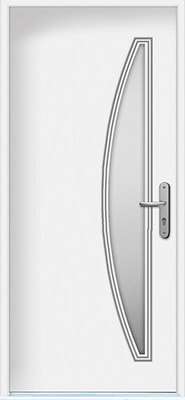 Modern door with modified vertical half moon glass insert