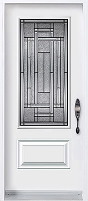 Traditional door with three quarter decorative glass