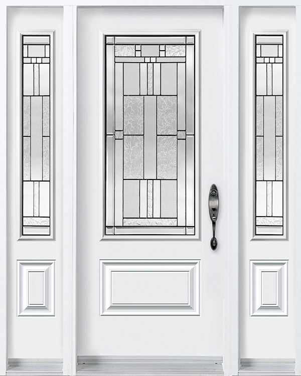 Modern, white front door with half glass inserts and double transoms
