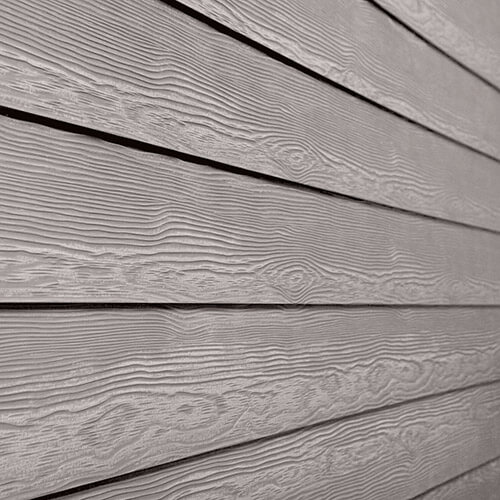 Close up of fibre cement siding on a home