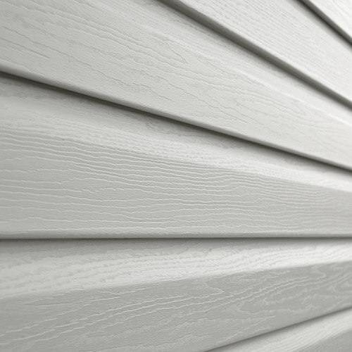 Zoomed in view of vinyl siding on a house