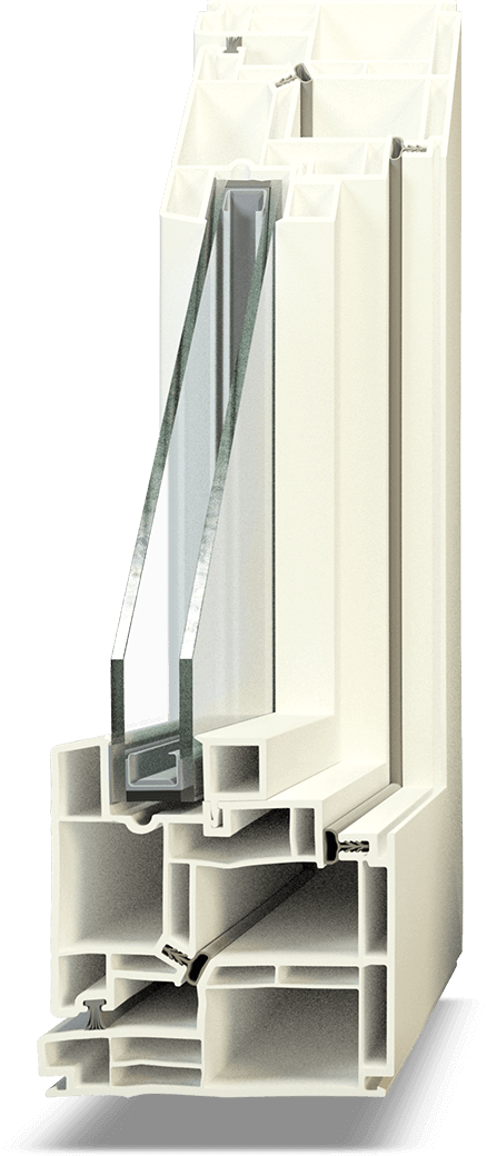 Hollow chamber PVC Window Section
