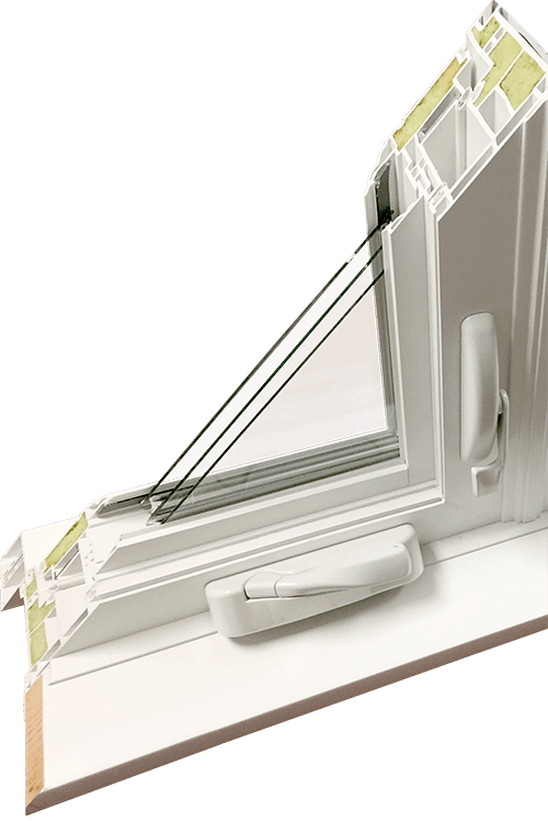 A cutaway of a hollow-chamber casement window with some foam