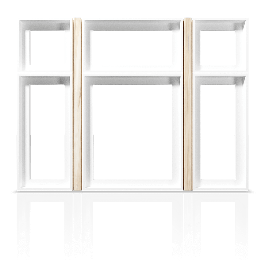 An example of a standard hollow-chamber PVC Window showing the frame and mullion only.