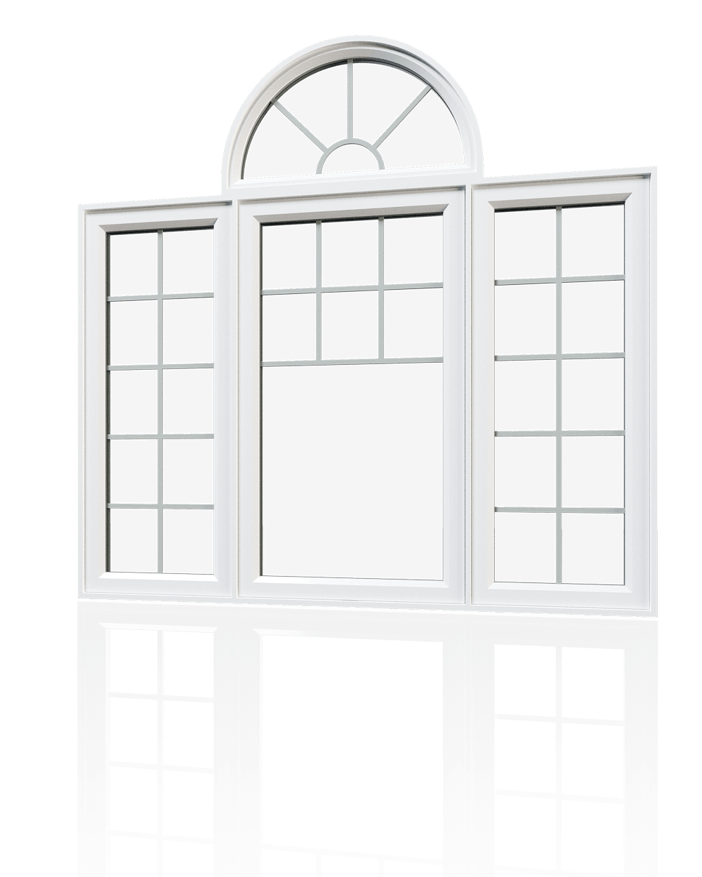 Double casement windows with modern grilles